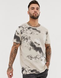 Jack And Jones Core Waffle Printed Oversized T Shirt In Tan
