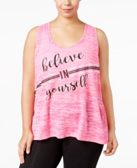 Ideology Plus Size Space Dyed Racerback Graphic Tank Top Only At Macy's Molten Pink