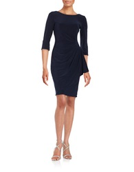Alex Evenings Rhinestone Accented Ruched Dress Navy