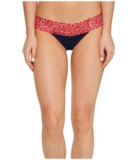 Hanky Panky Cotton With A Conscience Low Rise Thong Navy Bandana Women's Underwear