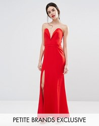 Jarlo Petite Helena Deep Sweetheart Plunge Front Maxi Dress Red