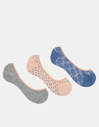 French Connection Pop 3 Pack Socks Llcgrycoralmulti