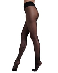 Wolford Individual 10 Back Seam Tights Sahara Black