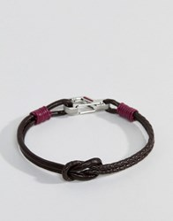 Ted Baker Ivvry Knotted Leather Bracelet In Brown And Red