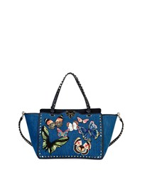 Butterfly Rockstud Denim Blue Tote Bag Valentino