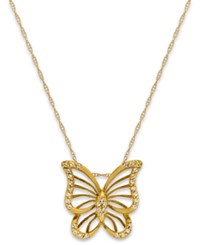 Macy's Diamond 1 10 Ct. T.W. Butterfly Pendant Necklace In 10K Gold