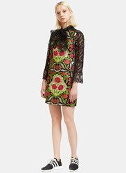 Gucci Floral Brocade And Lace Dress Black