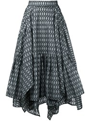 Maticevski Geometric Print Ruffled Skirt Women Silk 12 Black