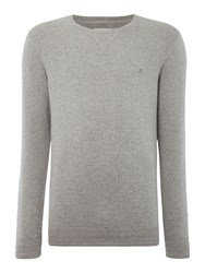 Peter Werth Bryson Fine Knitted Cotton Crew Neck Silver Marl