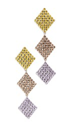 For Love And Lemons Casbah 3 Tier Stone Earrings Yellow Violet