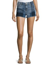 J Brand 1044 Mid Rise Patchwork Denim Cutoff Shorts Zenith Blue Pattern