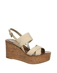 Sam Edelman Destiny Leather Platform Wedge Sandals Beige