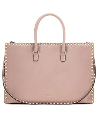 Valentino Rockstud Flat Big Working Leather Tote Bag Pink