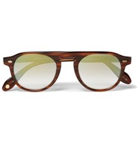 Garrett Leight California Optical Harding 47 Round Frame Tortoiseshell Acetate Mirrored Sunglasses Brown