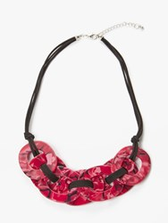 One Button Flat Marble Hoop Necklace Red Black