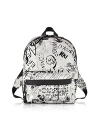 Maison Martin Margiela Mm6 Handbags White And Black Drawings Print Backpack
