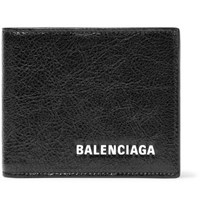 Balenciaga Arena Logo Print Creased Leather Billfold Wallet Black