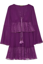 Roberto Cavalli Lace Trimmed Tiered Silk Georgette Mini Dress Violet