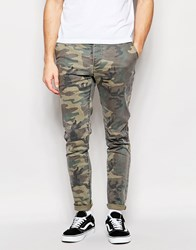 Asos Skinny Chinos In Camo Green
