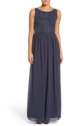 Adrianna Papell Women's Embellished Bodice Sleeveless Chiffon Gown Navy