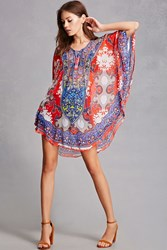 Forever 21 Ornate Studded Chiffon Tunic Red
