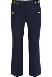 J.Crew Sailor Cropped Wool Blend Straight Leg Pants Navy