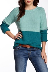 Trovata Colorblock Crew Neck Sweater Green