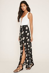 Forever 21 Floral Side Slit Maxi Skirt