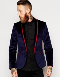 Noose And Monkey Velvet Blazer With Lapel Taping In Skinny Fit Midnightnavy