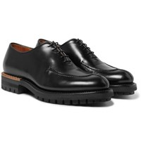 Berluti Glazed Leather Oxford Shoes Black