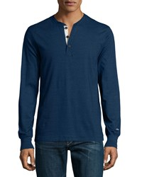 Rag And Bone Rag And Bone Standard Issue Long Sleeve Henley Shirt Indigo Size Medium