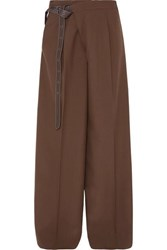 Marni Leather Trimmed Wool Wide Leg Pants Brown