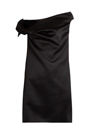 Balenciaga Asymmetric Off The Shoulder Satin Mini Dress Black