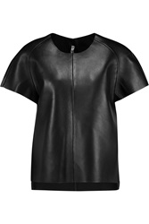 Acne Studios Mono Paneled Leather T Shirt Black