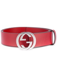 Gucci Gg Buckle Belt Men Leather 95 Red