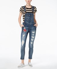 Dollhouse Juniors' Ripped Floral Patch Denim Overalls Blizzard B