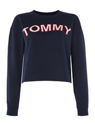 Tommy Hilfiger Athletic Logo Crew Neck Sweater Navy