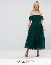 Asos Petite Off The Shoulder Lace Prom Midi Dress Green