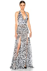 Versus Slit Leopard Gown In White Black Animal Print