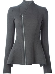 Rick Owens Lilies Fitted Zipped Peplum Jacket Grey