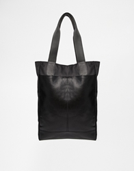 Asos Leather And Nylon Tote Bag Black