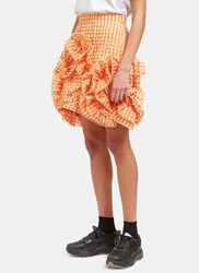 Msgm Seersucker Checked Ruffle Mini Skirt Orange