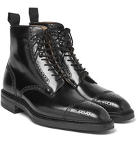 George Cleverley Bryan Leather Brogue Boots Black