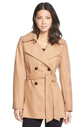 Via Spiga Double Breasted Wool Blend Trench Coat Deep Camel