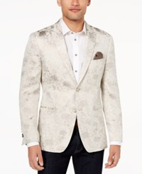 Tallia Orange Modern Fit Gold Leaf Print Dinner Jacket Cream
