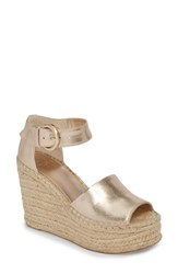 Marc Fisher 'S Ltd Alida Espadrille Platform Wedge Gold Leather