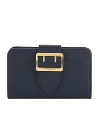 Burberry Shoes And Accessories Buckle Textured Leather Wallet Female Navy