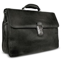 Chiarugi Men's Genuine Leather Double Gusset Briefcase Black