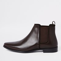 River Island Chocolate Brown Leather Chelsea Boot