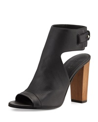 Vince Addie Leather Peep Toe Bootie Black